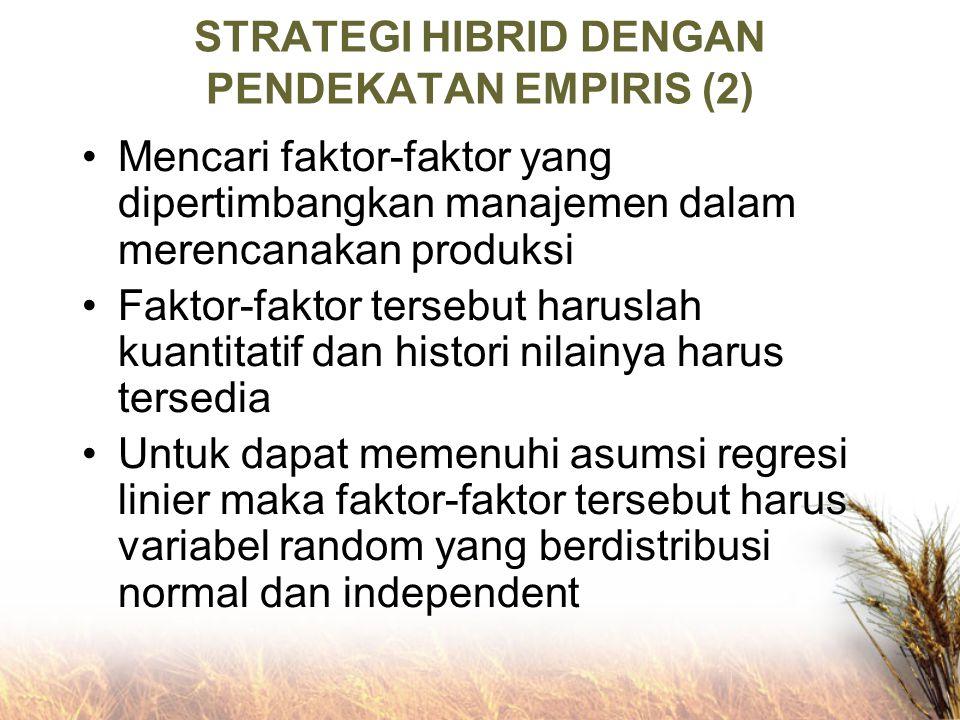 STRATEGI HIBRID DENGAN PENDEKATAN EMPIRIS (2) Mencari faktor-faktor yang dipertimbangkan manajemen dalam merencanakan produksi Faktor-faktor tersebut