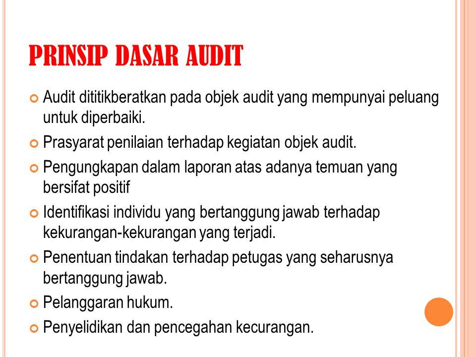 PRINSIP DASAR AUDIT Audit dititikberatkan pada objek audit yang mempunyai peluang untuk diperbaiki. Prasyarat penilaian terhadap kegiatan objek audit.