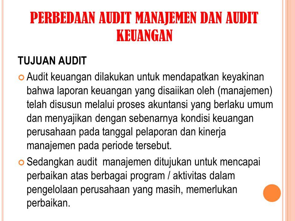PERBEDAAN AUDIT MANAJEMEN DAN AUDIT KEUANGAN TUJUAN AUDIT Audit keuangan dilakukan untuk mendapatkan keyakinan bahwa laporan keuangan yang disaiikan o