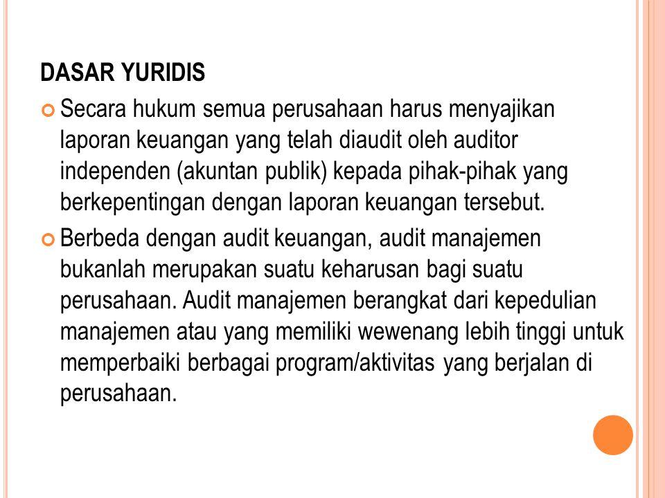 DASAR YURIDIS Secara hukum semua perusahaan harus menyajikan laporan keuangan yang telah diaudit oleh auditor independen (akuntan publik) kepada pihak