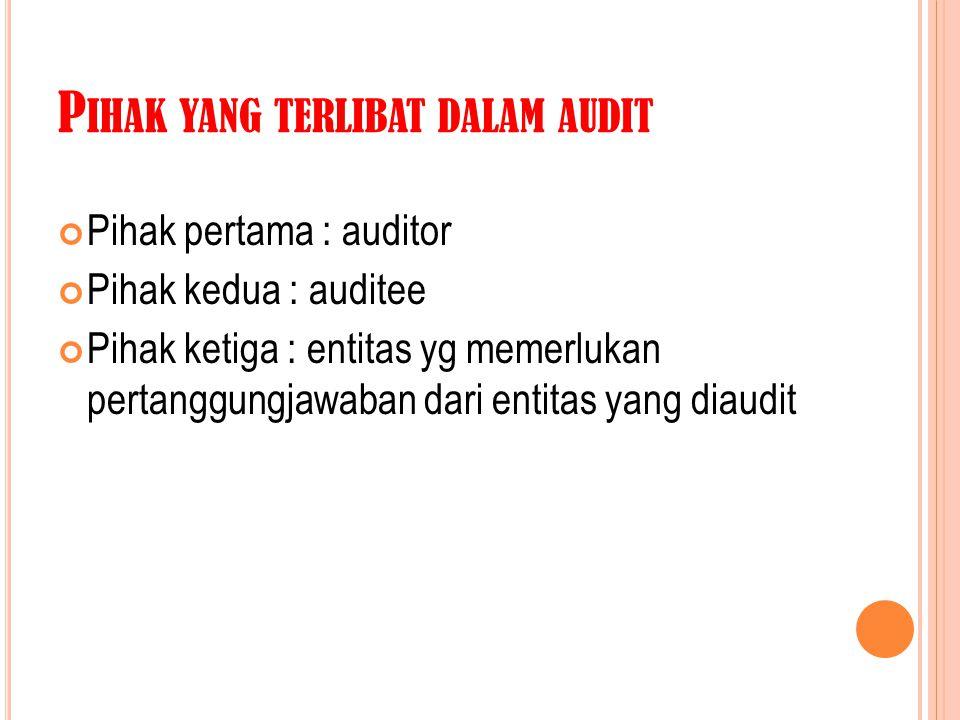 P IHAK YANG TERLIBAT DALAM AUDIT Pihak pertama : auditor Pihak kedua : auditee Pihak ketiga : entitas yg memerlukan pertanggungjawaban dari entitas ya