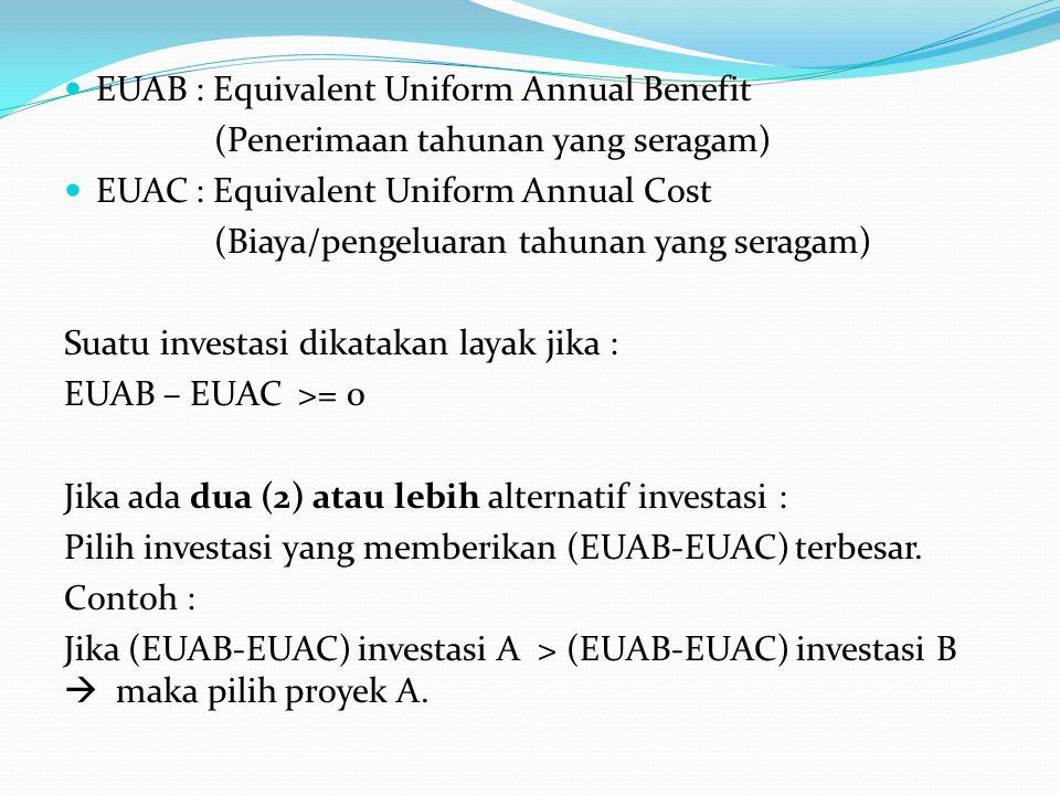 EUAB : Equivalent Uniform Annual Benefit (Penerimaan tahunan yang seragam) EUAC : Equivalent Uniform Annual Cost (Biaya/pengeluaran tahunan yang seragam) Suatu investasi dikatakan layak jika : EUAB – EUAC >= 0 Jika ada dua (2) atau lebih alternatif investasi : Pilih investasi yang memberikan (EUAB-EUAC) terbesar.