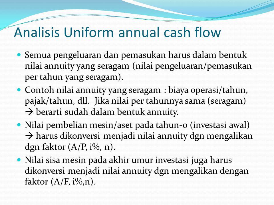 Analisis Uniform annual cash flow Semua pengeluaran dan pemasukan harus dalam bentuk nilai annuity yang seragam (nilai pengeluaran/pemasukan per tahun yang seragam).
