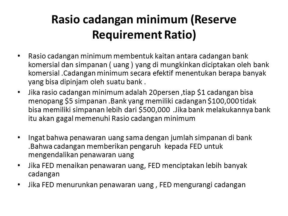 Rasio cadangan minimum (Reserve Requirement Ratio) Rasio cadangan minimum membentuk kaitan antara cadangan bank komersial dan simpanan ( uang ) yang d