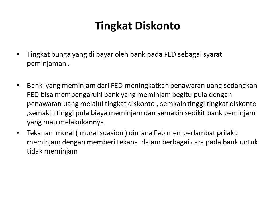 Tingkat Diskonto Tingkat bunga yang di bayar oleh bank pada FED sebagai syarat peminjaman. Bank yang meminjam dari FED meningkatkan penawaran uang sed