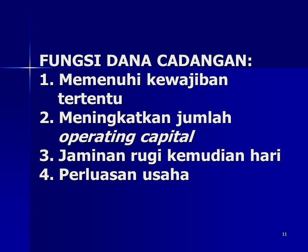 11 FUNGSI DANA CADANGAN: 1.Memenuhi kewajiban tertentu 2.