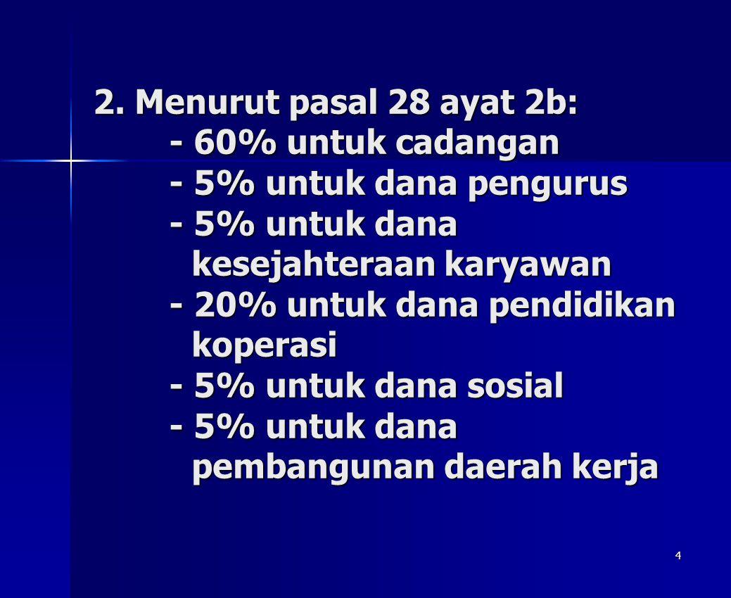 4 2. Menurut pasal 28 ayat 2b: - 60% untuk cadangan - 5% untuk dana pengurus - 5% untuk dana kesejahteraan karyawan - 20% untuk dana pendidikan kopera