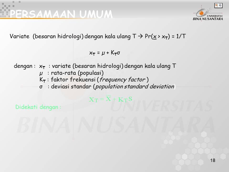 18 PERSAMAAN UMUM Variate (besaran hidrologi) dengan kala ulang T  Pr(x > x T ) = 1/T x T = µ + K T σ dengan : x T : variate (besaran hidrologi) deng