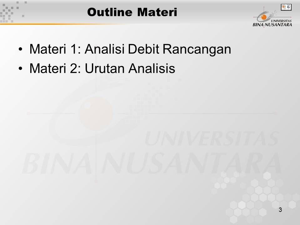 3 Outline Materi Materi 1: Analisi Debit Rancangan Materi 2: Urutan Analisis
