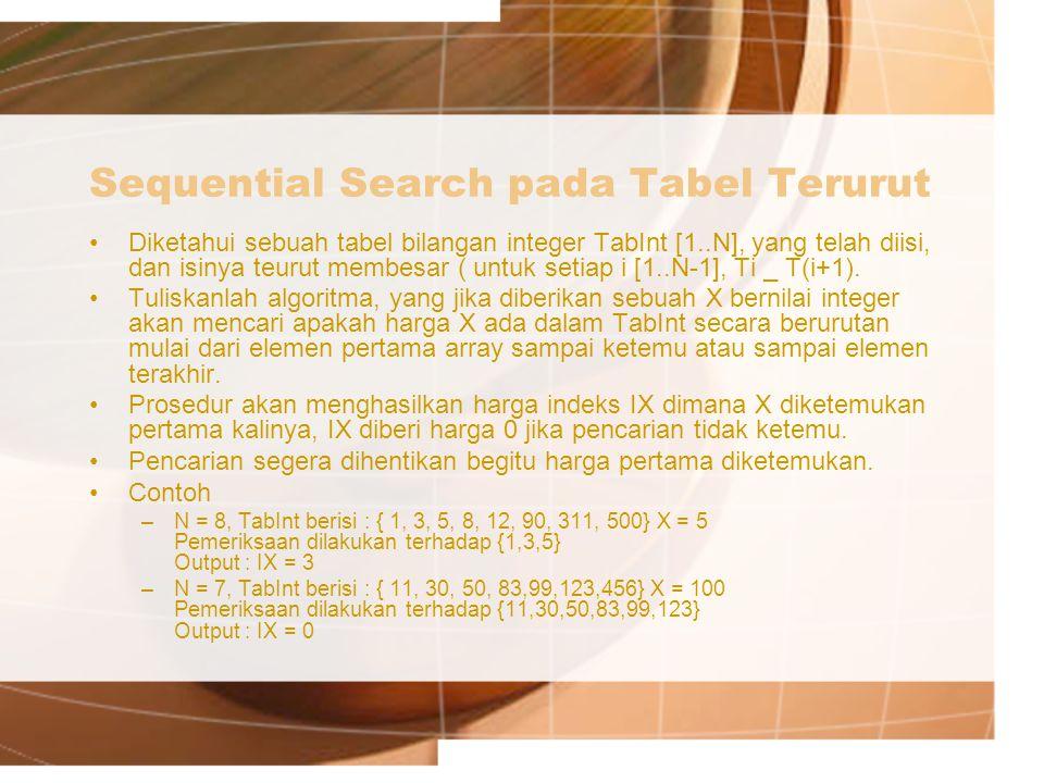 Sequential Search pada Tabel Terurut Diketahui sebuah tabel bilangan integer TabInt [1..N], yang telah diisi, dan isinya teurut membesar ( untuk setiap i [1..N-1], Ti _ T(i+1).