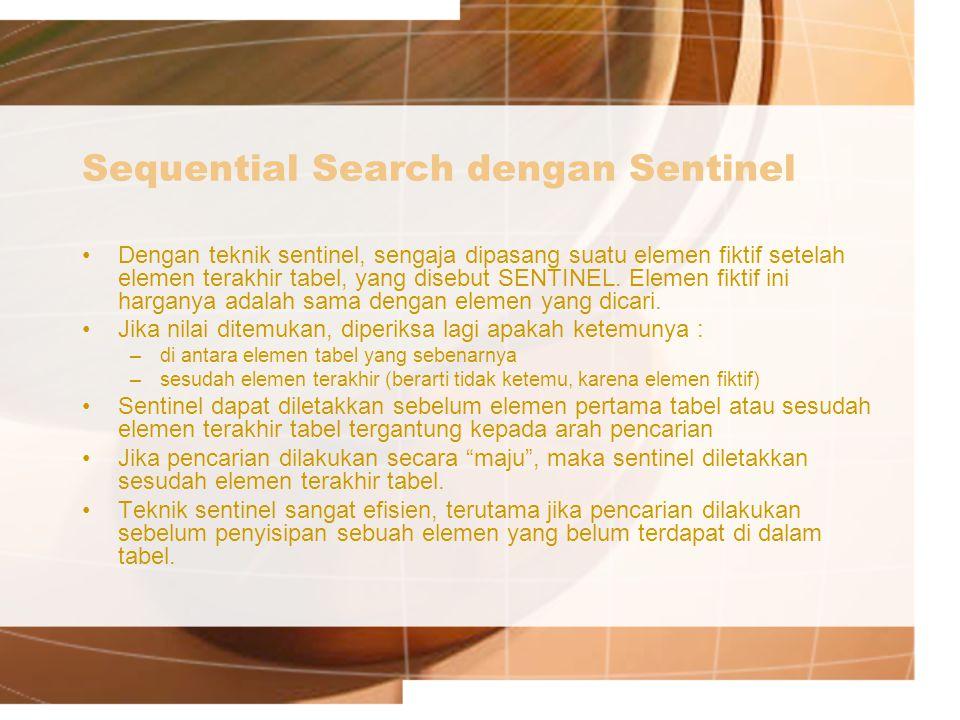 Sequential Search dengan Sentinel Dengan teknik sentinel, sengaja dipasang suatu elemen fiktif setelah elemen terakhir tabel, yang disebut SENTINEL.