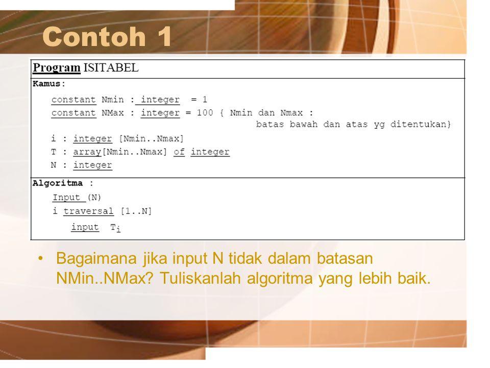 Contoh 1 Bagaimana jika input N tidak dalam batasan NMin..NMax.