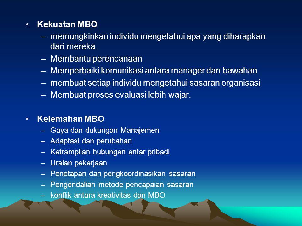 Kekuatan MBO –memungkinkan individu mengetahui apa yang diharapkan dari mereka. –Membantu perencanaan –Memperbaiki komunikasi antara manager dan bawah