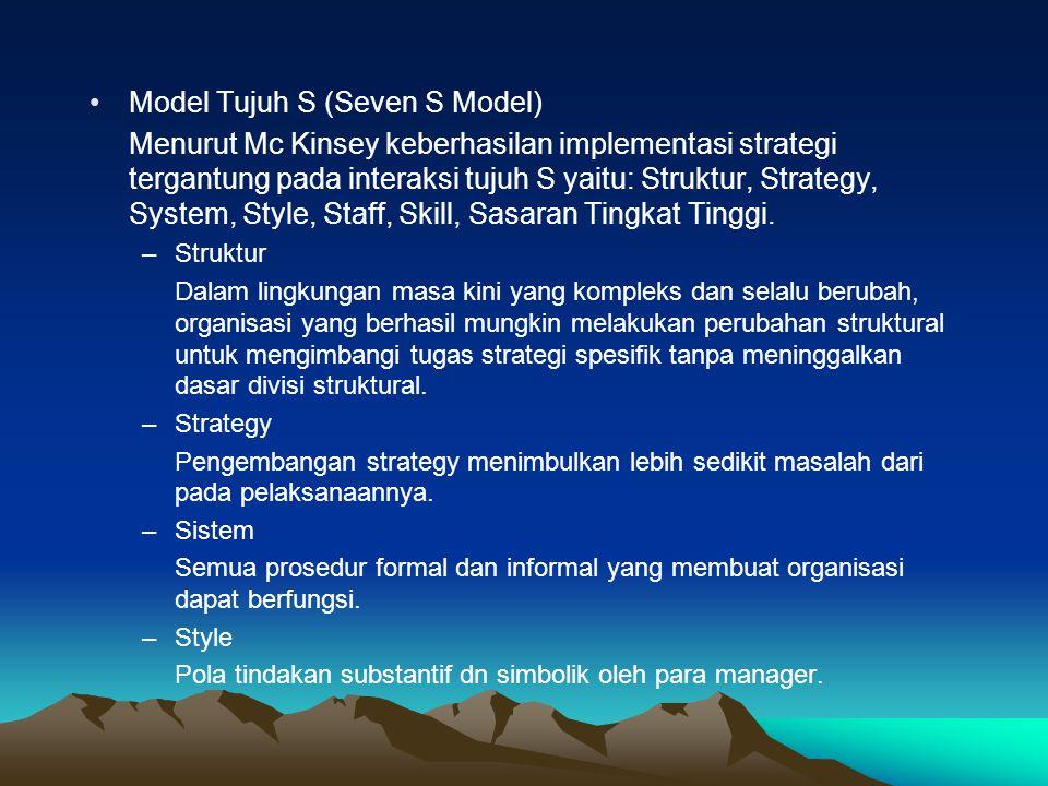 Model Tujuh S (Seven S Model) Menurut Mc Kinsey keberhasilan implementasi strategi tergantung pada interaksi tujuh S yaitu: Struktur, Strategy, System