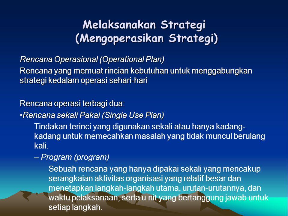 Melaksanakan Strategi (Mengoperasikan Strategi) Rencana Operasional (Operational Plan) Rencana yang memuat rincian kebutuhan untuk menggabungkan strat