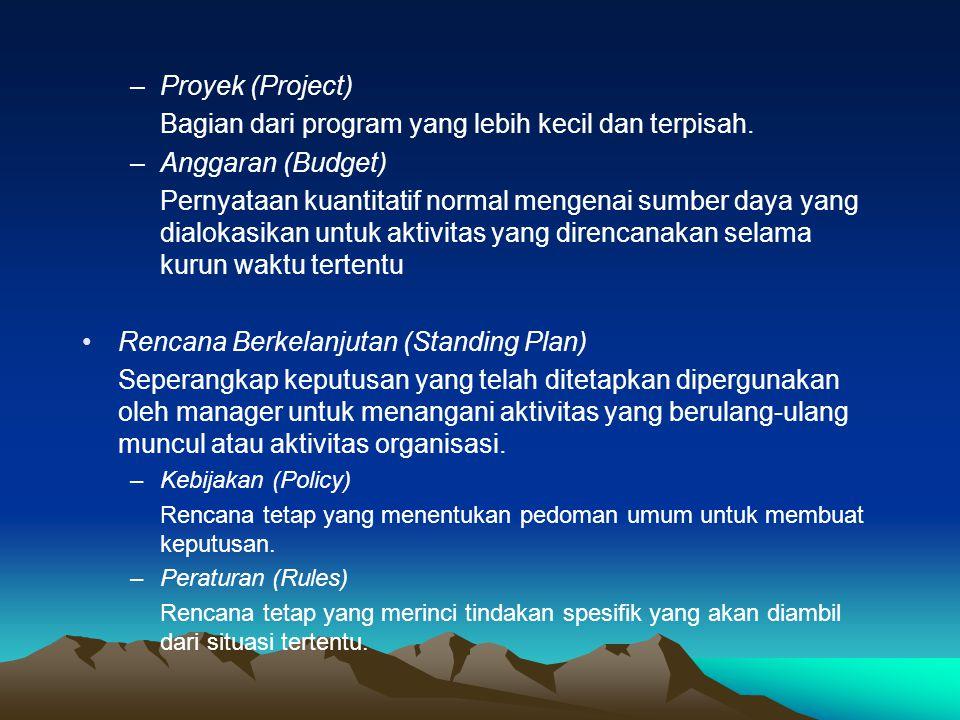 –Proyek (Project) Bagian dari program yang lebih kecil dan terpisah. –Anggaran (Budget) Pernyataan kuantitatif normal mengenai sumber daya yang dialok