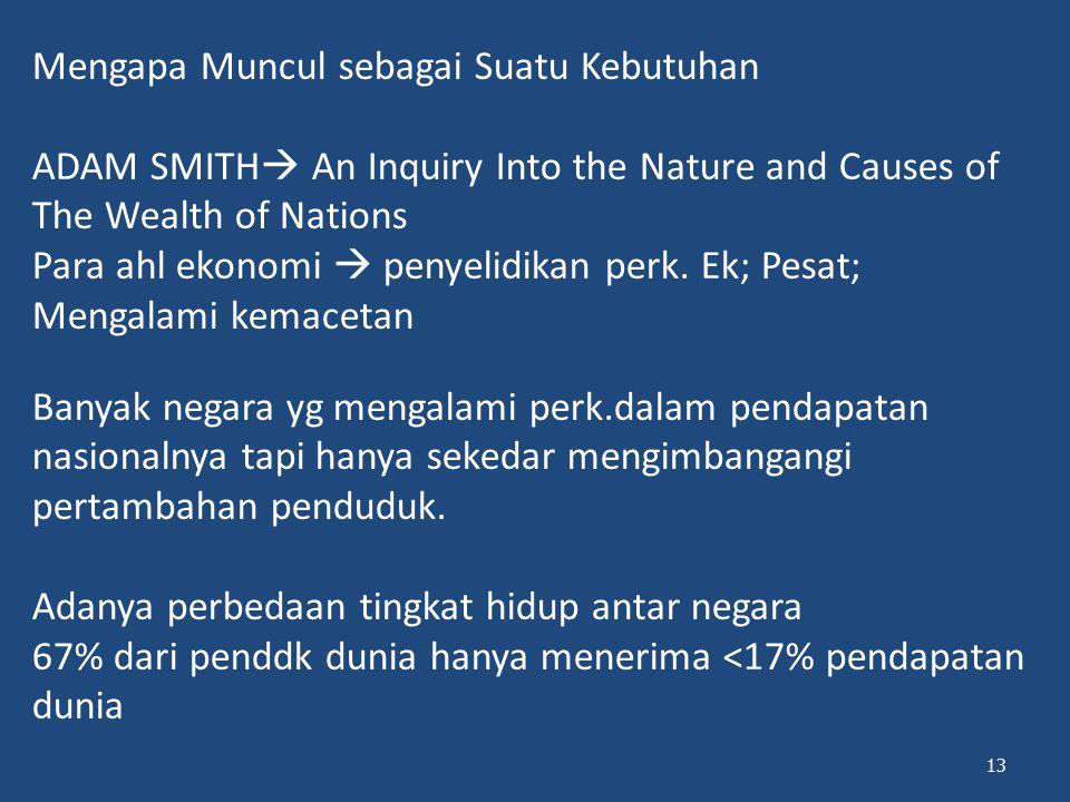 Mengapa Muncul sebagai Suatu Kebutuhan ADAM SMITH  An Inquiry Into the Nature and Causes of The Wealth of Nations Para ahl ekonomi  penyelidikan per