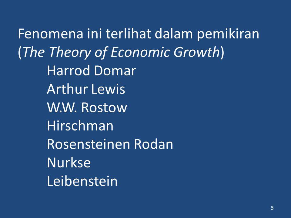 Fenomena ini terlihat dalam pemikiran (The Theory of Economic Growth) Harrod Domar Arthur Lewis W.W. Rostow Hirschman Rosensteinen Rodan Nurkse Leiben