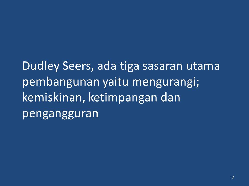 Dudley Seers, ada tiga sasaran utama pembangunan yaitu mengurangi; kemiskinan, ketimpangan dan pengangguran 7