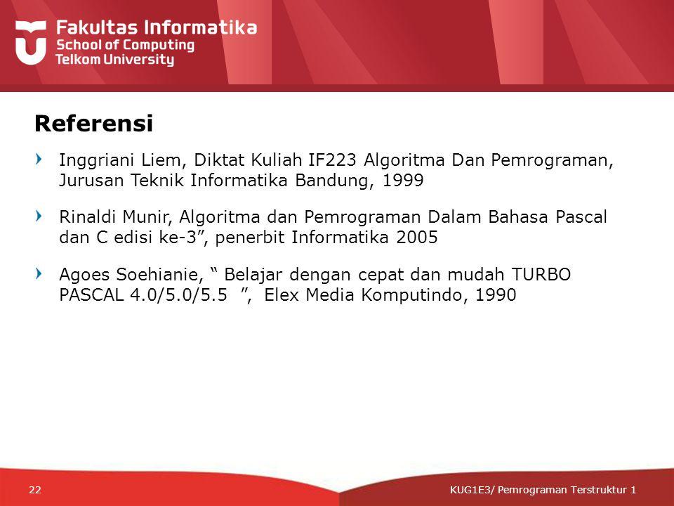 12-CRS-0106 REVISED 8 FEB 2013 KUG1E3/ Pemrograman Terstruktur 1 Referensi Inggriani Liem, Diktat Kuliah IF223 Algoritma Dan Pemrograman, Jurusan Teknik Informatika Bandung, 1999 Rinaldi Munir, Algoritma dan Pemrograman Dalam Bahasa Pascal dan C edisi ke-3 , penerbit Informatika 2005 Agoes Soehianie, Belajar dengan cepat dan mudah TURBO PASCAL 4.0/5.0/5.5 , Elex Media Komputindo, 1990 22