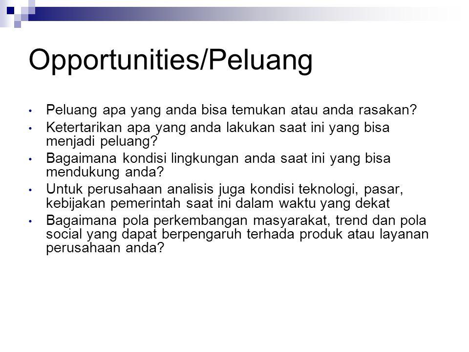 Opportunities/Peluang Peluang apa yang anda bisa temukan atau anda rasakan? Ketertarikan apa yang anda lakukan saat ini yang bisa menjadi peluang? Bag