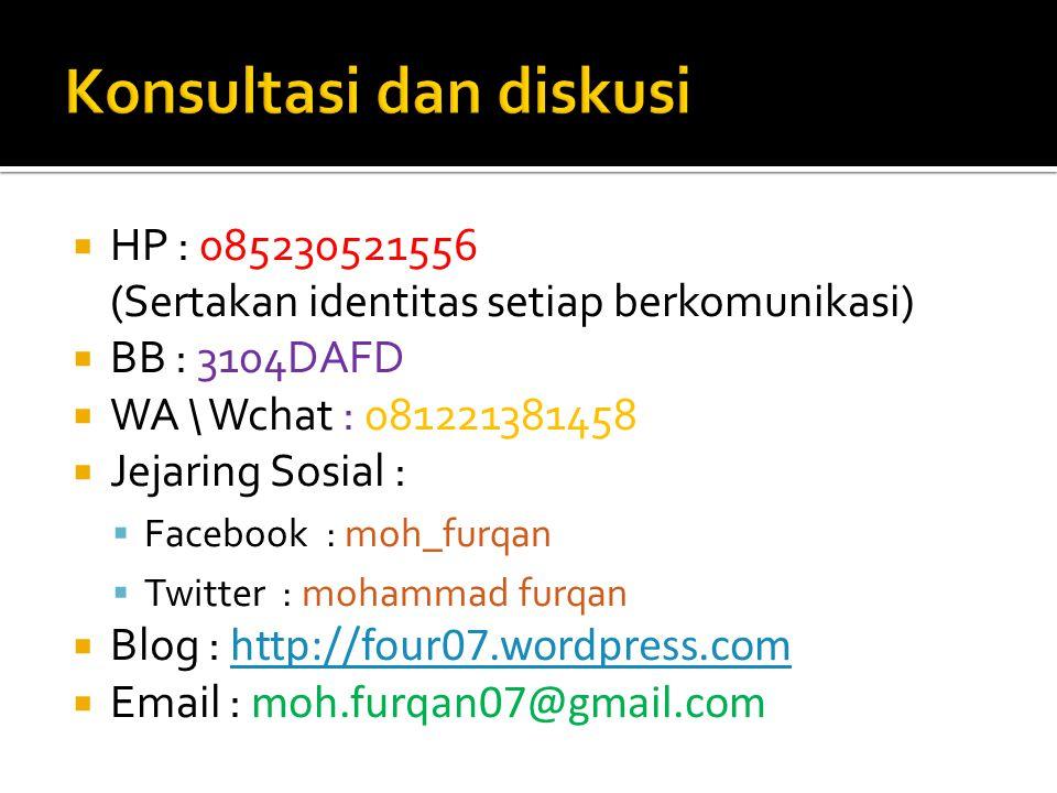  HP : 085230521556 (Sertakan identitas setiap berkomunikasi)  BB : 3104DAFD  WA \ Wchat : 081221381458  Jejaring Sosial :  Facebook : moh_furqan