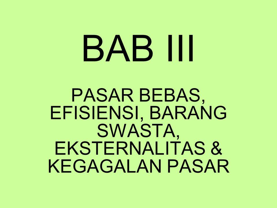 BAB III PASAR BEBAS, EFISIENSI, BARANG SWASTA, EKSTERNALITAS & KEGAGALAN PASAR