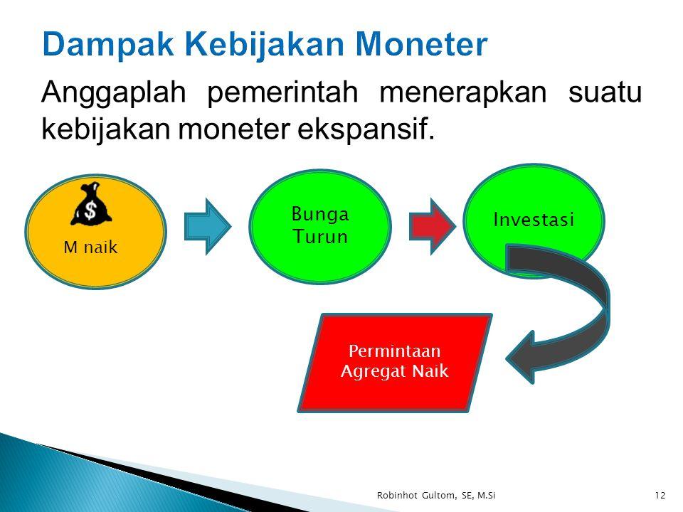 Anggaplah pemerintah menerapkan suatu kebijakan moneter ekspansif. Robinhot Gultom, SE, M.Si12 M naik Bunga Turun Investasi Permintaan Agregat Naik