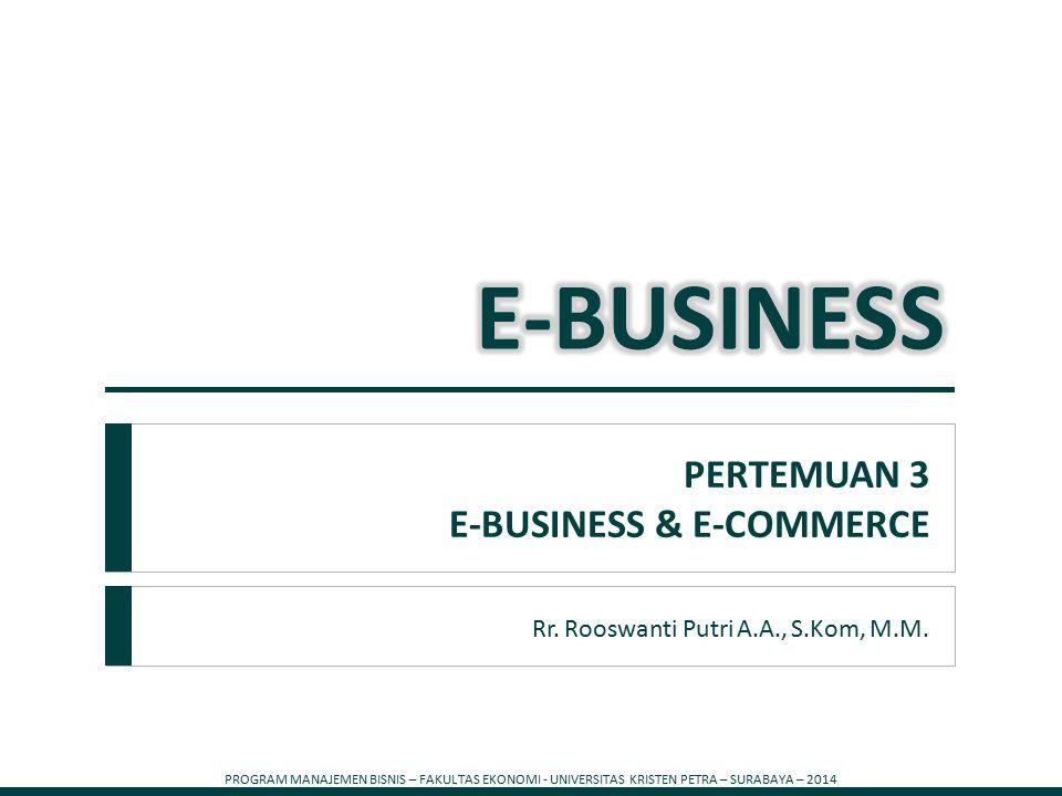 PROGRAM MANAJEMEN BISNIS – FAKULTAS EKONOMI - UNIVERSITAS KRISTEN PETRA – SURABAYA – 2014 1 Rr. Rooswanti Putri A.A., S.Kom, M.M. PERTEMUAN 3 E-BUSINE