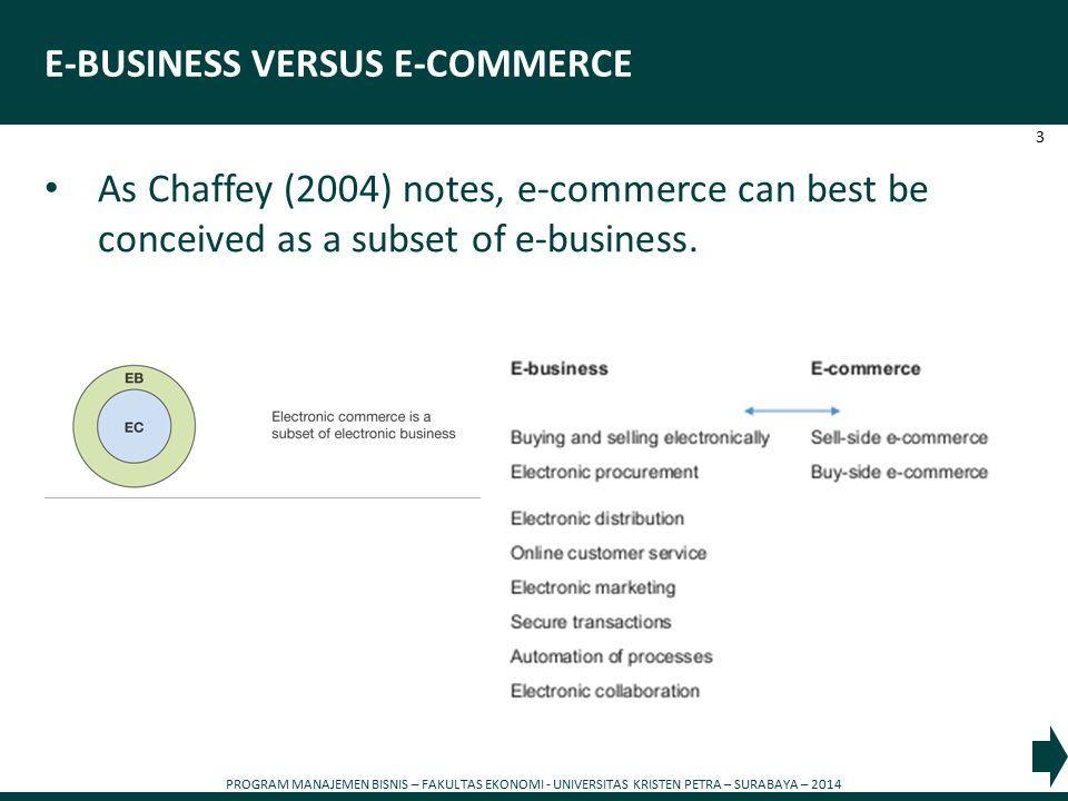 PROGRAM MANAJEMEN BISNIS – FAKULTAS EKONOMI - UNIVERSITAS KRISTEN PETRA – SURABAYA – 2014 3 E-BUSINESS VERSUS E-COMMERCE As Chaffey (2004) notes, e-commerce can best be conceived as a subset of e-business.