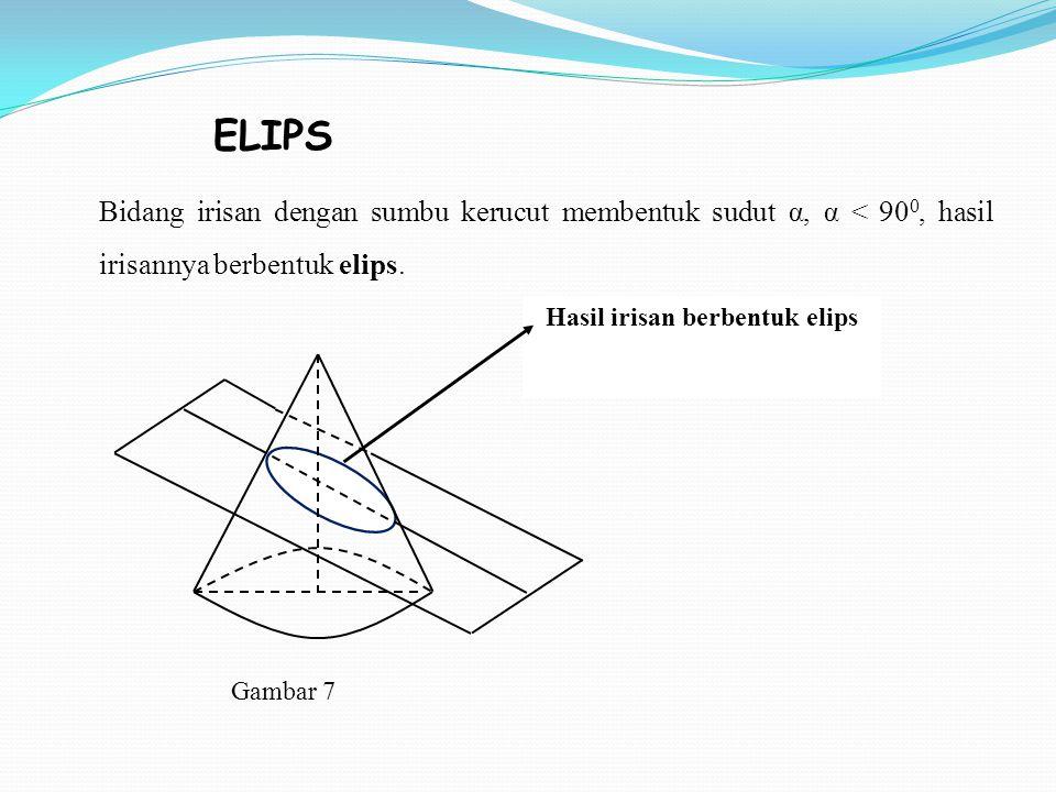 Bidang irisan dengan sumbu kerucut membentuk sudut α, α < 90 0, hasil irisannya berbentuk elips. Hasil irisan berbentuk elips Gambar 7 ELIPS