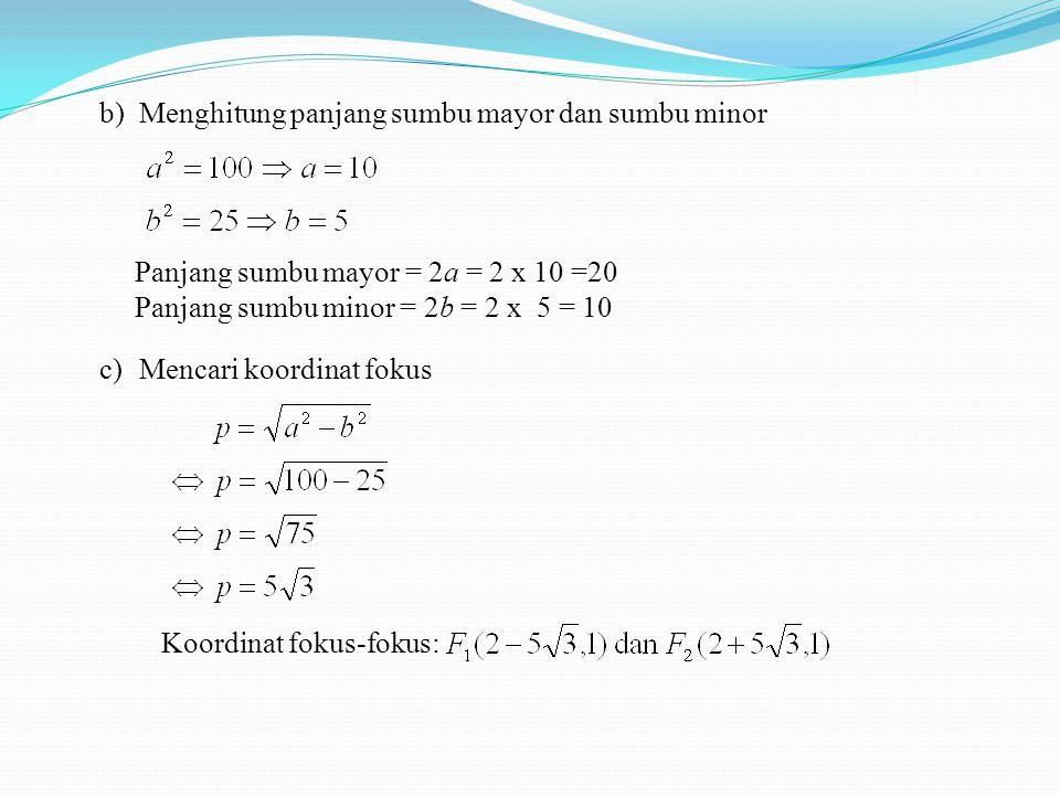 b)Menghitung panjang sumbu mayor dan sumbu minor Panjang sumbu mayor = 2a = 2 x 10 =20 Panjang sumbu minor = 2b = 2 x 5 = 10 c)Mencari koordinat fokus