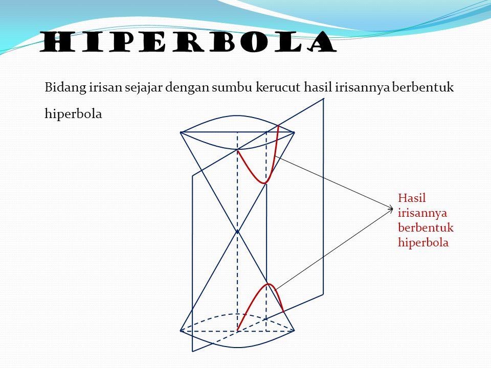 HIPERBOLA Bidang irisan sejajar dengan sumbu kerucut hasil irisannya berbentuk hiperbola Hasil irisannya berbentuk hiperbola