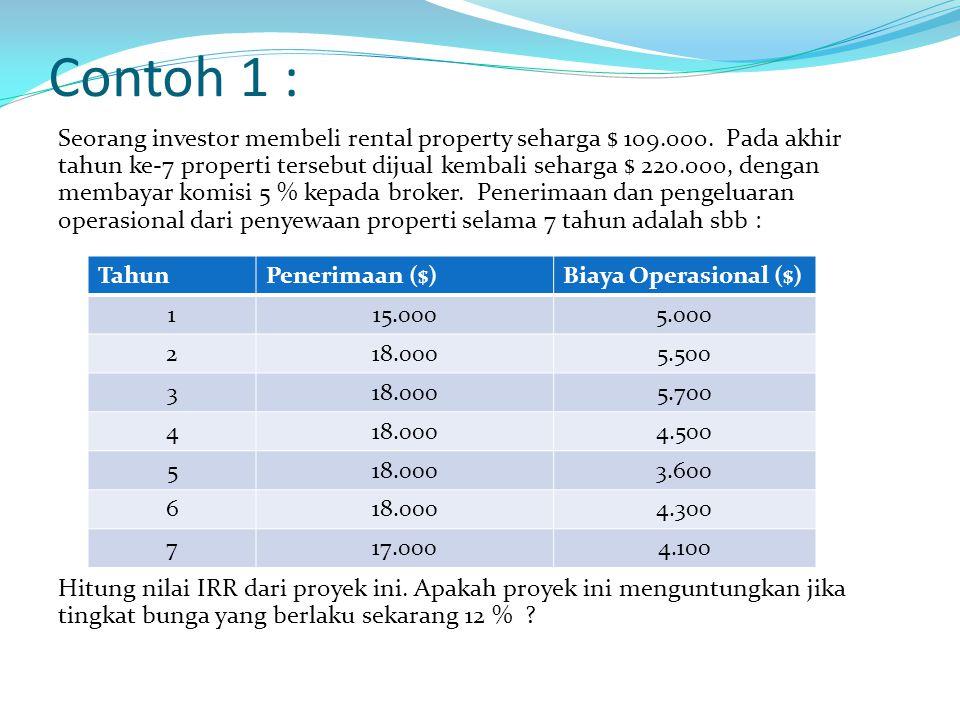 Contoh 1 : Seorang investor membeli rental property seharga $ 109.000.
