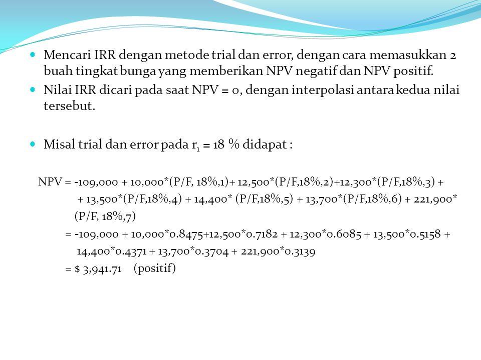 Mencari IRR dengan metode trial dan error, dengan cara memasukkan 2 buah tingkat bunga yang memberikan NPV negatif dan NPV positif.