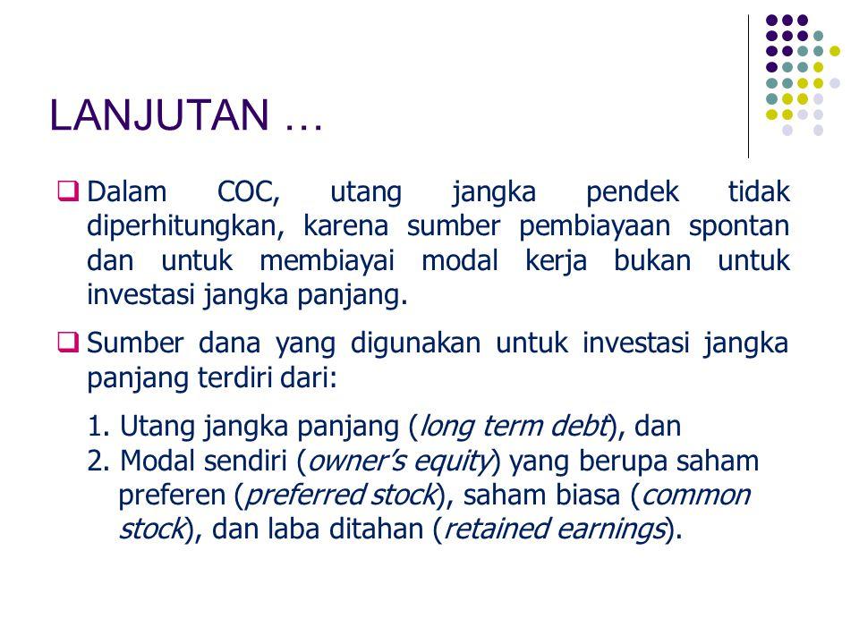COST OF DEBT (K dt ) After tax cost of debt: K dt = bondholder's required rate of return – tax saving obligasi = K d – K d.T Keterangan:  C t = bunga yang harus dibayar secara periodik (dalam nilai mata uang) K dt = K d (1 – T) K d = C t + (M – P b ) / N) (M + P b ) /2)