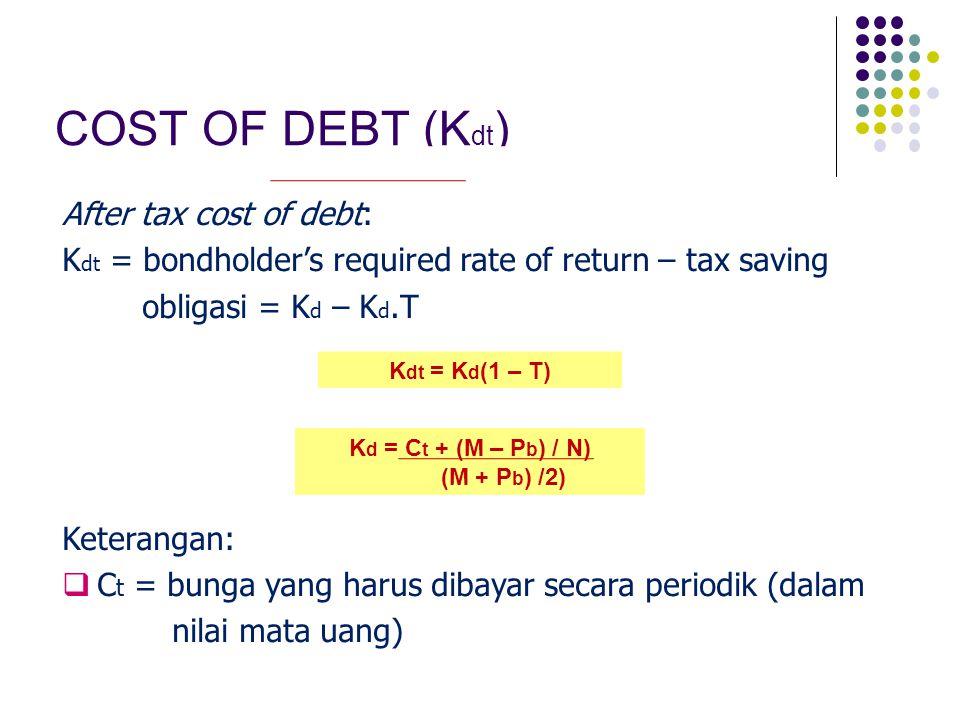 LANJUTAN…  P b = nilai pasar/nilai jual obligasi  M = nilai nominal obligasi  N = umur obligasi