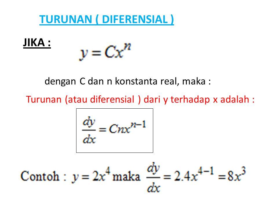 TURUNAN ( DIFERENSIAL ) JIKA : dengan C dan n konstanta real, maka : Turunan (atau diferensial ) dari y terhadap x adalah :