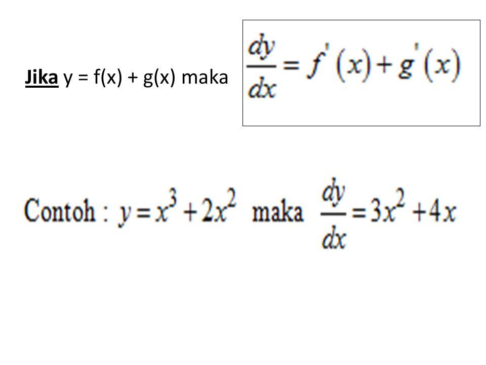 Turunan Kedua Turunan kedua y = f(x) terhadap x dinotasikan dengan Turunan kedua diperoleh dengan menurunkan turunan pertama.