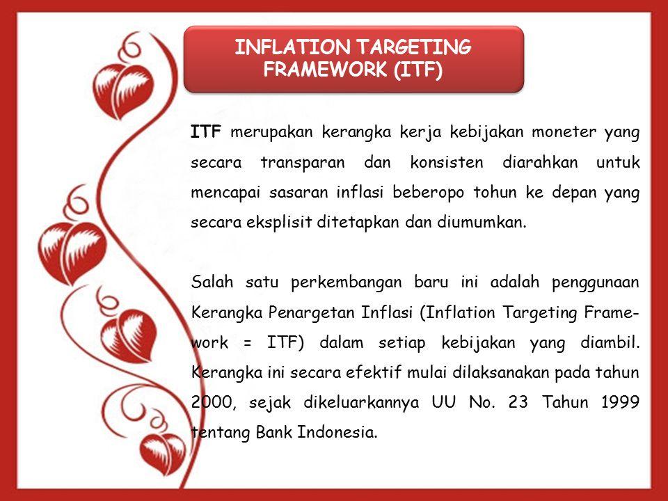 INFLATION TARGETING FRAMEWORK (ITF) ITF merupakan kerangka kerja kebijakan moneter yang secara transparan dan konsisten diarahkan untuk mencapai sasaran inflasi beberopo tohun ke depan yang secara eksplisit ditetapkan dan diumumkan.