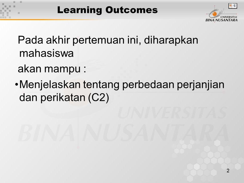 2 Learning Outcomes Pada akhir pertemuan ini, diharapkan mahasiswa akan mampu : Menjelaskan tentang perbedaan perjanjian dan perikatan (C2)