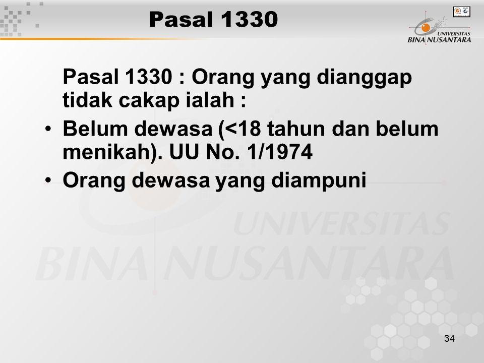 34 Pasal 1330 Pasal 1330 : Orang yang dianggap tidak cakap ialah : Belum dewasa (<18 tahun dan belum menikah). UU No. 1/1974 Orang dewasa yang diampun