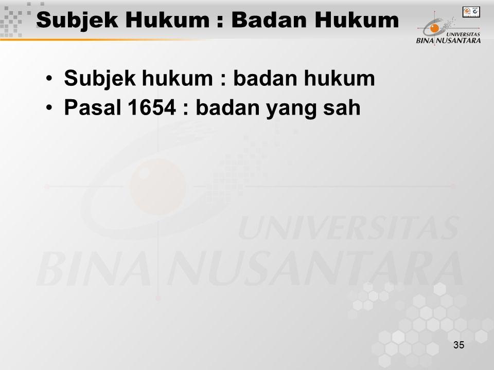 35 Subjek Hukum : Badan Hukum Subjek hukum : badan hukum Pasal 1654 : badan yang sah