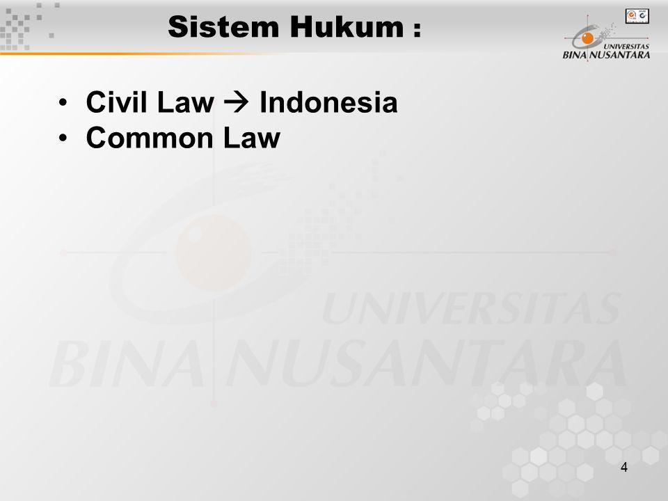 4 Sistem Hukum : Civil Law  Indonesia Common Law