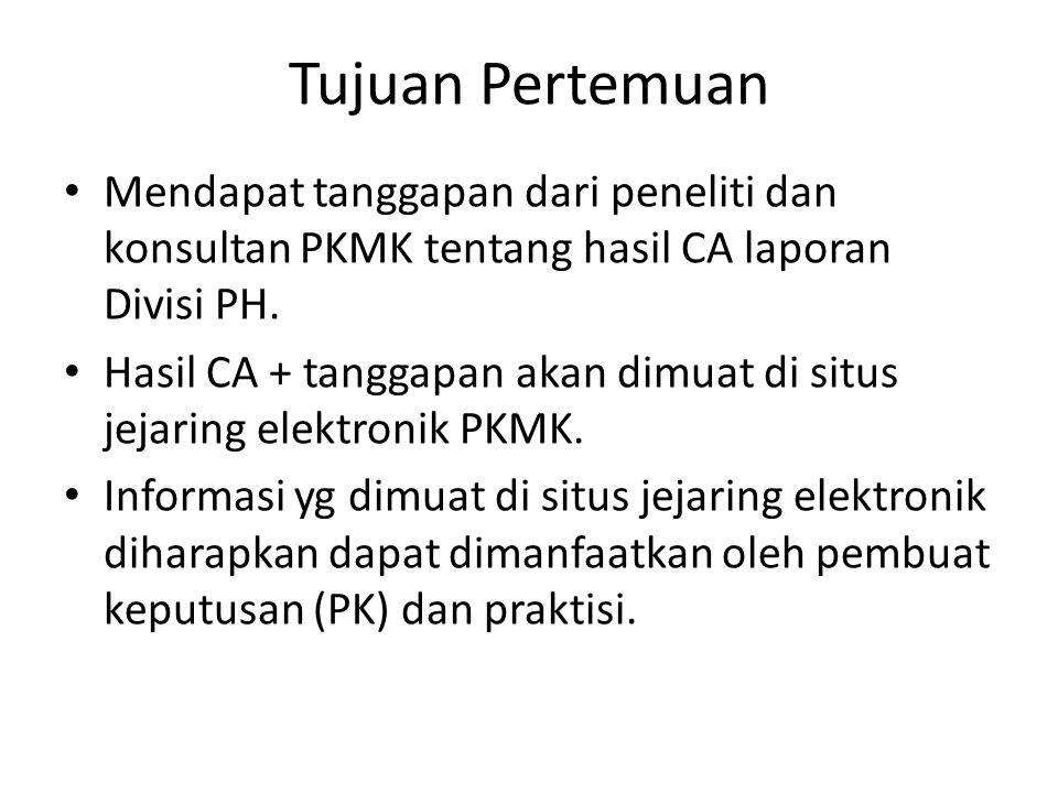Tujuan Pertemuan Mendapat tanggapan dari peneliti dan konsultan PKMK tentang hasil CA laporan Divisi PH.