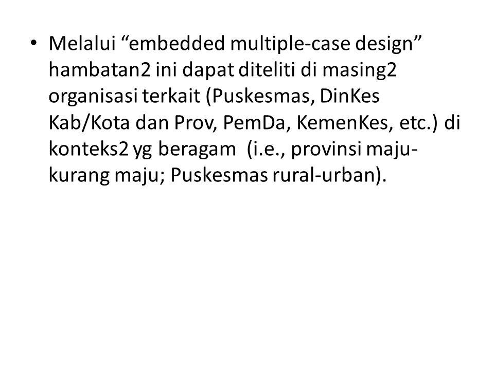 Melalui embedded multiple-case design hambatan2 ini dapat diteliti di masing2 organisasi terkait (Puskesmas, DinKes Kab/Kota dan Prov, PemDa, KemenKes, etc.) di konteks2 yg beragam (i.e., provinsi maju- kurang maju; Puskesmas rural-urban).