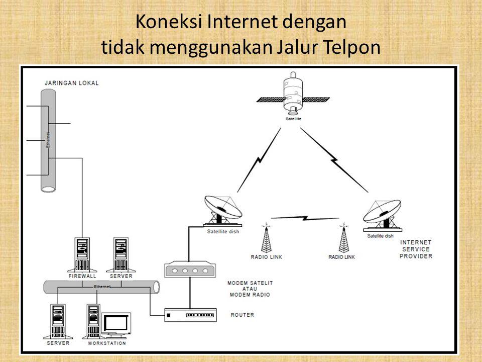 Koneksi Internet dengan CDMA (Code Division Multiple Access) – Menggunakan handphone/telphone CDMA sebagai modem – Untuk telpon CDMA kecepatannya dapat mencapai 153.6 Kbps Kelebihan – Dapat digunakan dimana saja sepanjang dalam jangkauan jaringan telpon CDMA – Kecepatannya bisa mencapai 3 kali lipat dari kecepatan koneksi dial up.