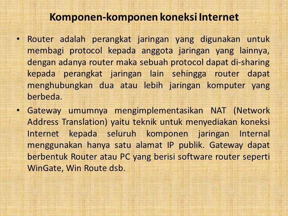 Komponen-komponen koneksi Internet Router adalah perangkat jaringan yang digunakan untuk membagi protocol kepada anggota jaringan yang lainnya, dengan adanya router maka sebuah protocol dapat di-sharing kepada perangkat jaringan lain sehingga router dapat menghubungkan dua atau lebih jaringan komputer yang berbeda.