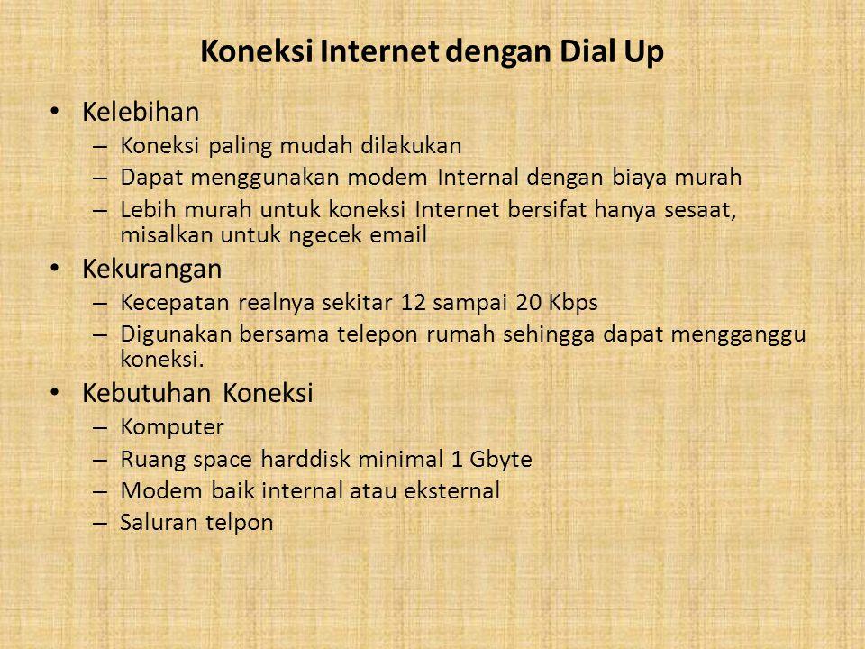 Koneksi Internet dengan Dial Up Kelebihan – Koneksi paling mudah dilakukan – Dapat menggunakan modem Internal dengan biaya murah – Lebih murah untuk k