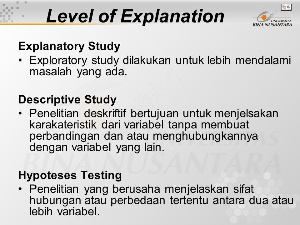 Level of Explanation Explanatory Study Exploratory study dilakukan untuk lebih mendalami masalah yang ada. Descriptive Study Penelitian deskriftif ber